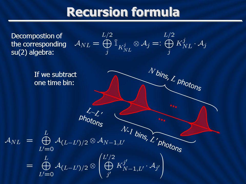 Recursion formula Decompostion of the corresponding su(2) algebra: If we subtract one time bin: N bins, L photons N-1 bins, L′ photons...
