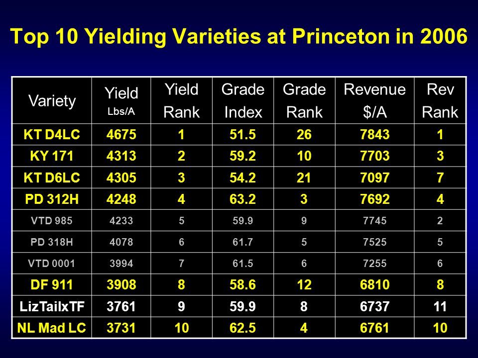 Top 10 Yielding Varieties at Princeton in 2006 Variety Yield Lbs/A Yield Rank Grade Index Grade Rank Revenue $/A Rev Rank KT D4LC4675151.52678431 KY 1714313259.21077033 KT D6LC4305354.22170977 PD 312H4248463.2376924 VTD 9854233559.9977452 PD 318H4078661.7575255 VTD 00013994761.5672556 DF 9113908858.61268108 LizTailxTF3761959.98673711 NL Mad LC37311062.54676110