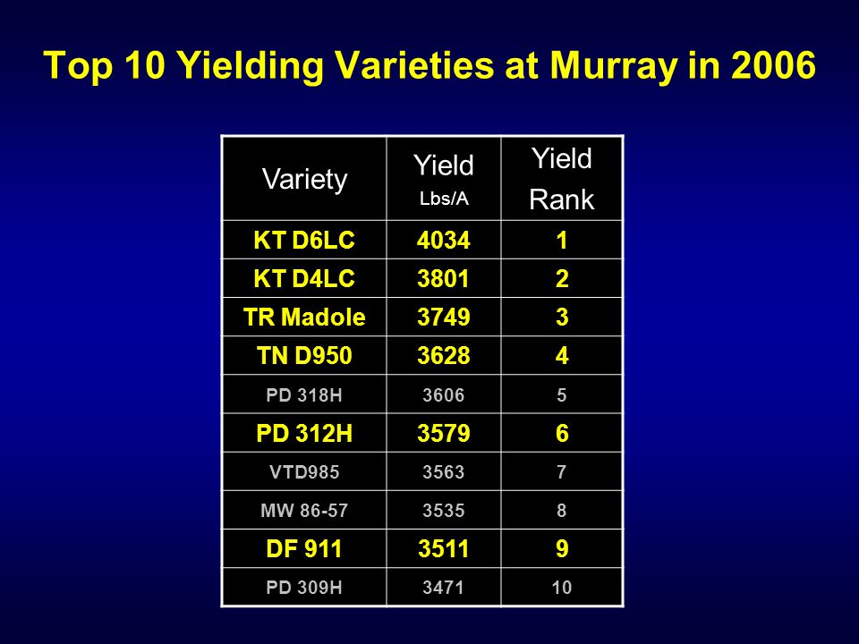Top 10 Yielding Varieties at Murray in 2006 Variety Yield Lbs/A Yield Rank KT D6LC40341 KT D4LC38012 TR Madole37493 TN D95036284 PD 318H36065 PD 312H35796 VTD98535637 MW 86-5735358 DF 91135119 PD 309H347110