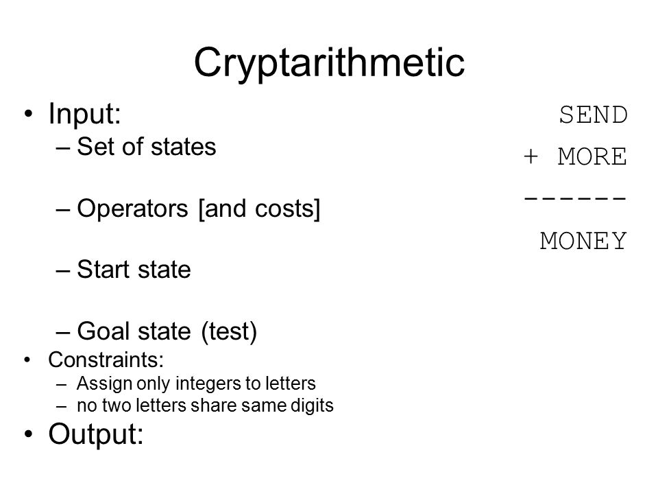 Cryptarithmetic SEND + MORE ------ MONEY Input: –Set of states –Operators [and costs] –Start state –Goal state (test) Constraints: –Assign only intege