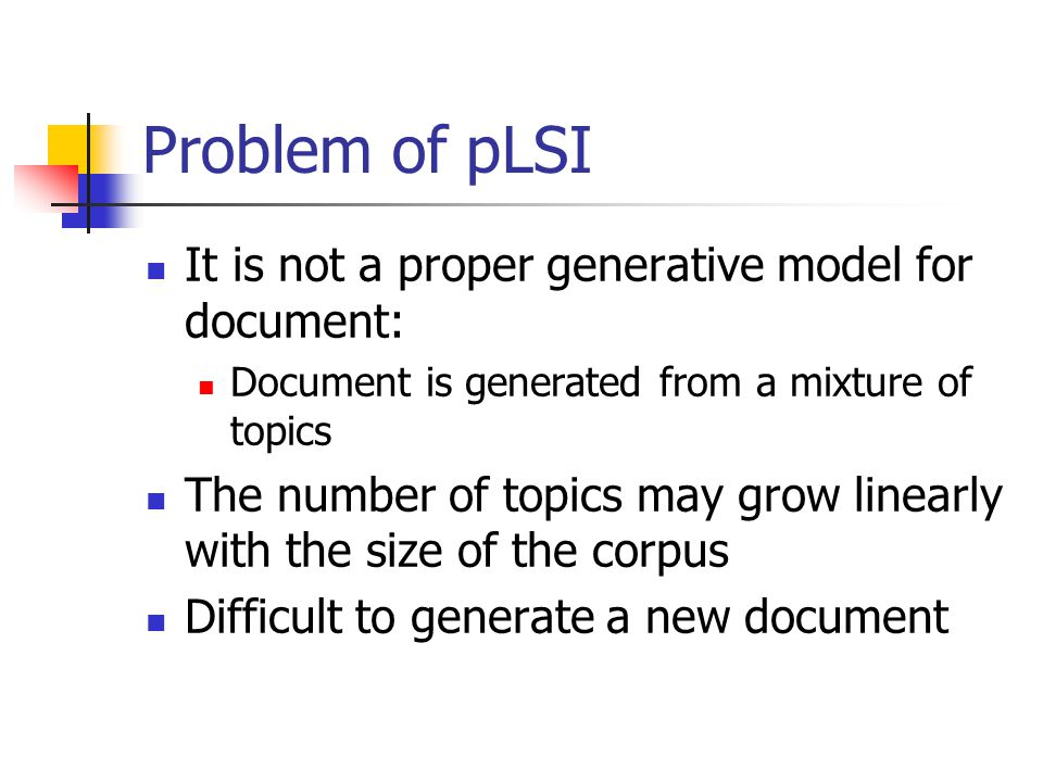 Problem of pLSI It is not a proper generative model for document: Document is generated from a mixture of topics The number of topics may grow linearl