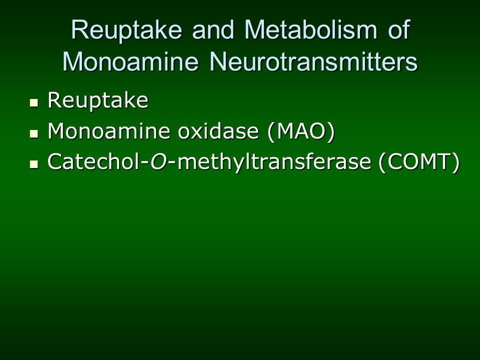 Reuptake and Metabolism of Monoamine Neurotransmitters Reuptake Reuptake Monoamine oxidase (MAO) Monoamine oxidase (MAO) Catechol-O-methyltransferase