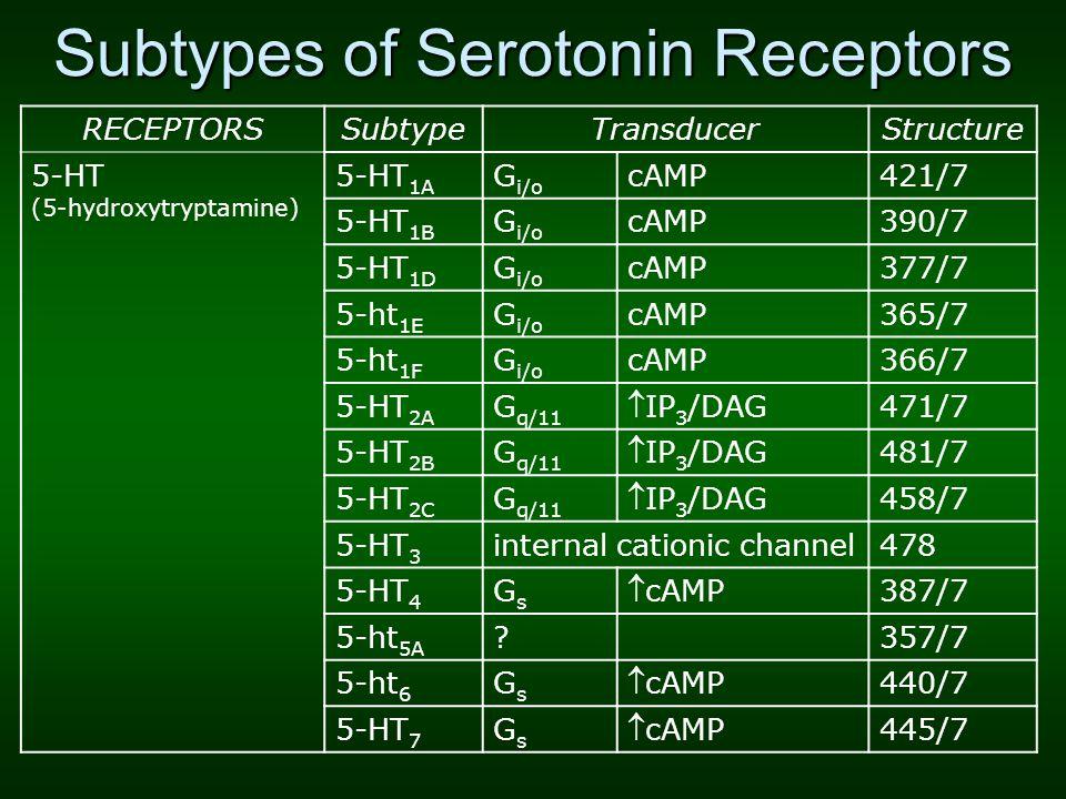 Subtypes of Serotonin Receptors RECEPTORSSubtypeTransducerStructure 5-HT (5-hydroxytryptamine) 5-HT 1A G i/o cAMP421/7 5-HT 1B G i/o cAMP390/7 5-HT 1D