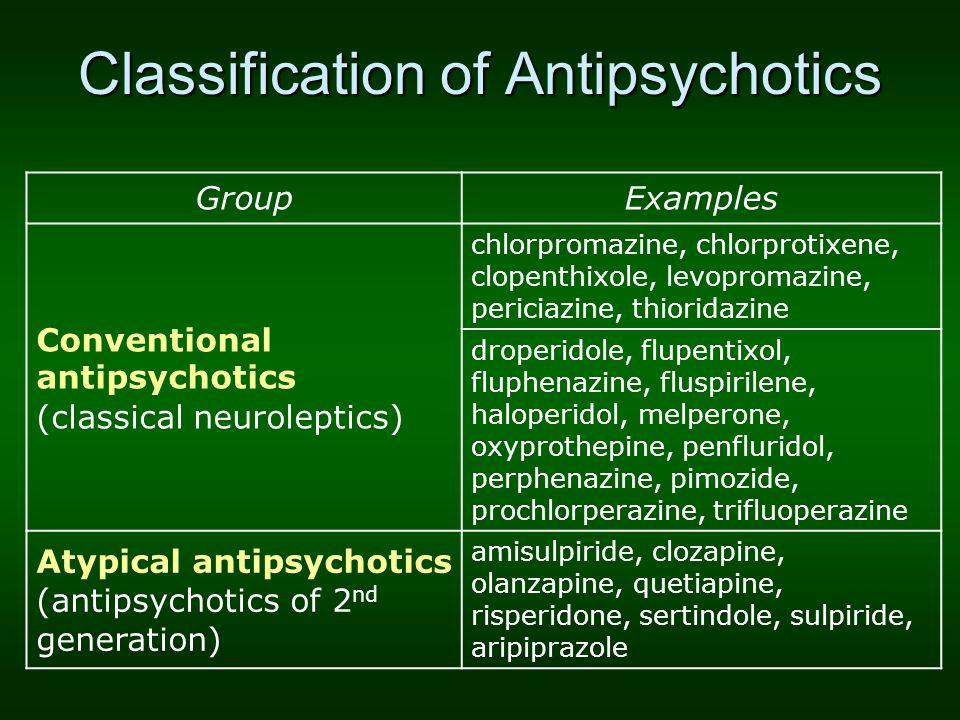 Classification of Antipsychotics GroupExamples Conventional antipsychotics (classical neuroleptics) chlorpromazine, chlorprotixene, clopenthixole, lev