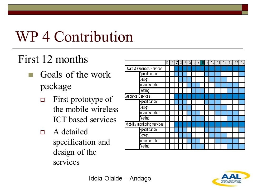 Idoia Olalde - Andago WP 4 Contribution First 12 months Goals of the work package  First prototype of the mobile wireless ICT based services  A deta