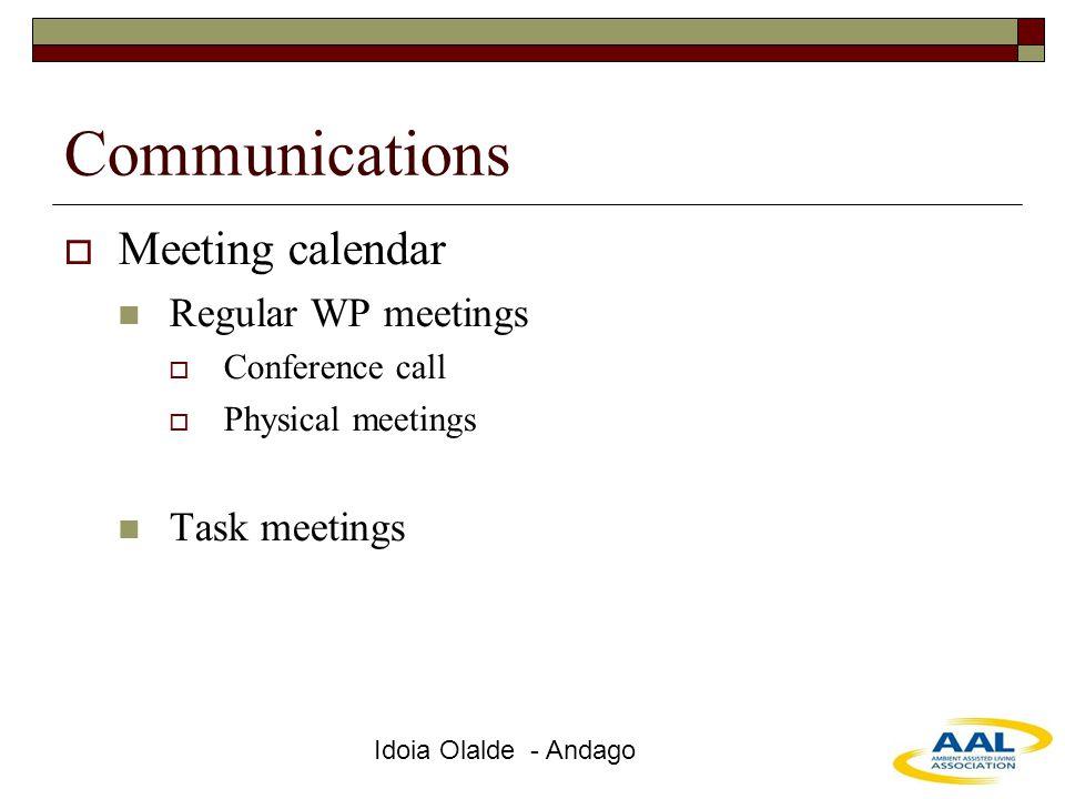Idoia Olalde - Andago Communications  Meeting calendar Regular WP meetings  Conference call  Physical meetings Task meetings