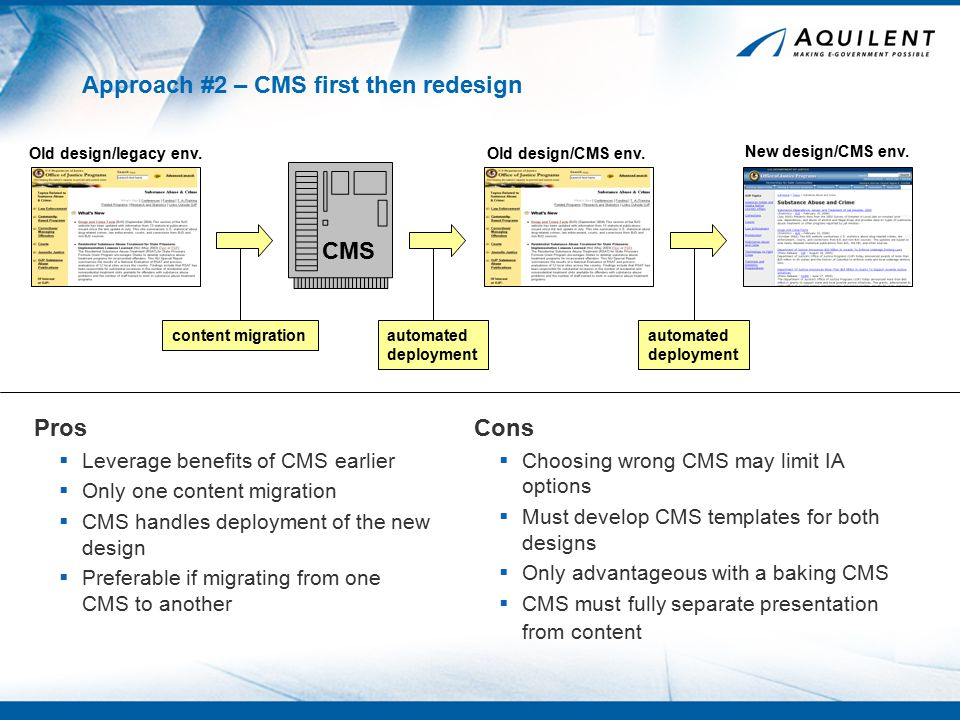 Approach #2 – CMS first then redesign Pros  Leverage benefits of CMS earlier  Only one content migration  CMS handles deployment of the new design  Preferable if migrating from one CMS to another Cons  Choosing wrong CMS may limit IA options  Must develop CMS templates for both designs  Only advantageous with a baking CMS  CMS must fully separate presentation from content CMS Old design/legacy env.