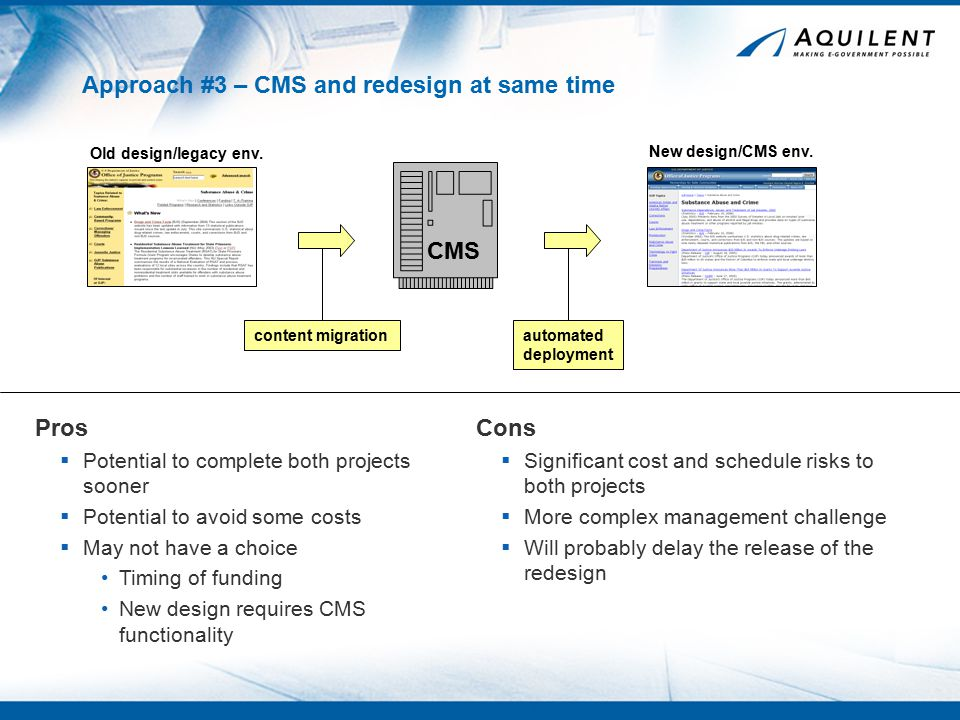 Approach #3 – CMS and redesign at same time Cons  Significant cost and schedule risks to both projects  More complex management challenge  Will probably delay the release of the redesign Pros  Potential to complete both projects sooner  Potential to avoid some costs  May not have a choice Timing of funding New design requires CMS functionality CMS Old design/legacy env.