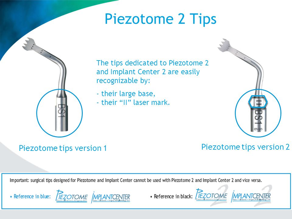 Piezotome 2 Tips - Stainless-steel medical grade alloy with specific thermic and surface treatments, polishing, etc.