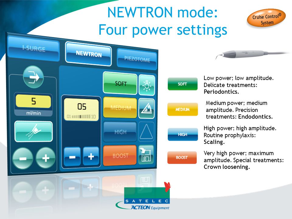 NEWTRON mode: Fine adjustment Each mode (Soft – Medium - High – Boost) enables fine power adjustment from 1 to 10.