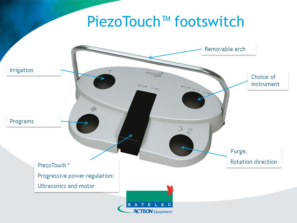 PiezoTouch™ D1 to D3, the ultrasonic power delivered will vary between D3 – (01) and the power selected by the user (mode and fine adjustment).
