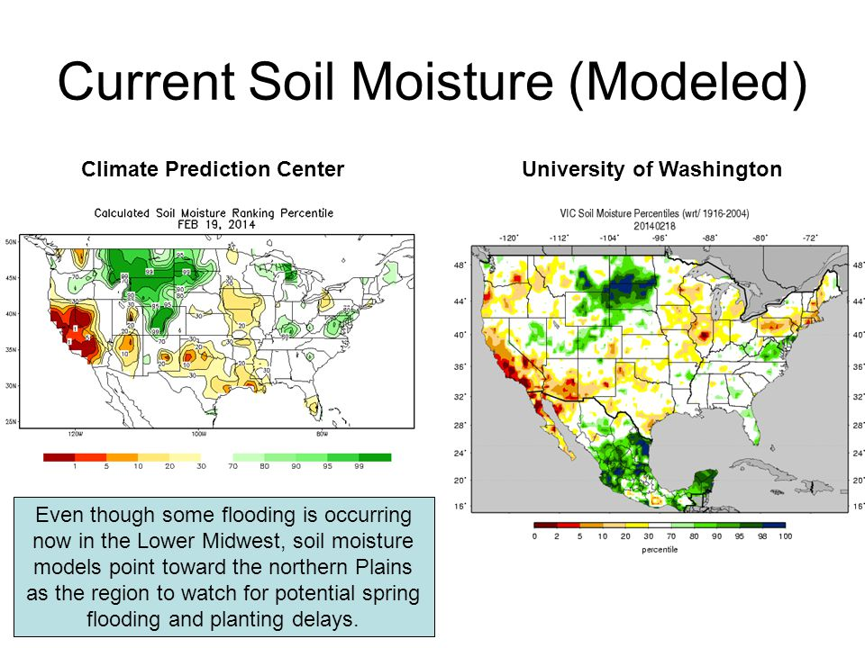 Current Soil Moisture (Modeled) Climate Prediction CenterUniversity of Washington Even though some flooding is occurring now in the Lower Midwest, soil moisture models point toward the northern Plains as the region to watch for potential spring flooding and planting delays.