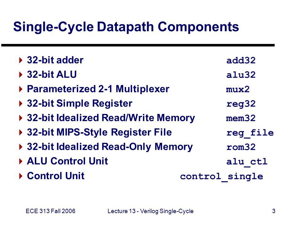 ECE 313 Fall 2006Lecture 13 - Verilog Single-Cycle4 32-Bit Adder // Behavioral model of a 32-bit adder module add32(a, b, result); input [31:0] a, b; output [31:0] result; assign result = a + b; endmodule Adder
