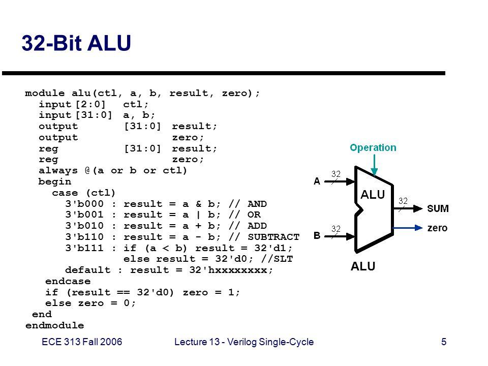 ECE 313 Fall 2006Lecture 13 - Verilog Single-Cycle16 32-bit Idealized ROM - case case (mem_offset) 5 d0 : data_out = { 6 d35, 5 d0, 5 d2, 16 d4 }; // lw $2, 4($0) r2=1 5 d1 : data_out = { 6 d35, 5 d0, 5 d3, 16 d8 }; // lw $3, 8($0) r3=2 5 d2 : data_out = { 6 d35, 5 d0, 5 d4, 16 d20 }; // lw $4, 20($0) r4=5 5 d3 : data_out = { 6 d0, 5 d0, 5 d0, 5 d5, 5 d0, 6 d32 }; // add $5, $0, $0 r5=0 5 d4 : data_out = { 6 d0, 5 d5, 5 d2, 5 d5, 5 d0, 6 d32 }; // add $5, $5, $1 r5 = r5 + 1 5 d5 : data_out = { 6 d0, 5 d4, 5 d5, 5 d6, 5 d0, 6 d42 }; // slt $6, $4, $5 is r5 >= 5.