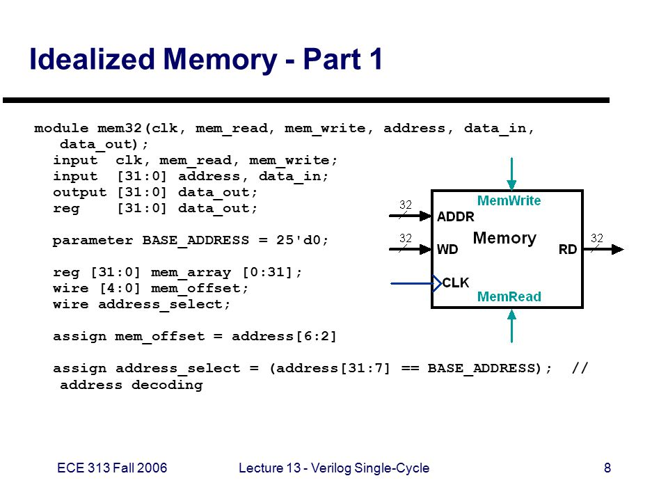 ECE 313 Fall 2006Lecture 13 - Verilog Single-Cycle19 ALU Control Unit - Part 2 always @(ALUOp or Funct) begin case (ALUOp) 2 b00 : ALUOperation = ALU_add; 2 b01 : ALUOperation = ALU_sub; 2 b10 : case (Funct) F_add : ALUOperation = ALU_add; F_sub : ALUOperation = ALU_sub; F_and : ALUOperation = ALU_and; F_or : ALUOperation = ALU_or; F_slt : ALUOperation = ALU_slt; default : ALUOperation = 3 bxxx; endcase default ALUOperation = 3 bxxx; endcase end endmodule