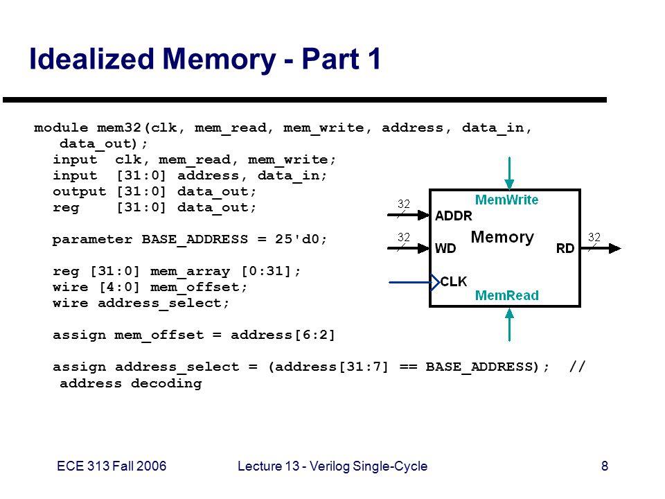 ECE 313 Fall 2006Lecture 13 - Verilog Single-Cycle9 Idealized Memory - Part 2 always @(mem_read or address_select or mem_offset or mem_array[mem_offset]) begin if (mem_read == 1 b1 && address_select == 1 b1) begin if ((address % 4) != 0) $display($time, rom32 error: unaligned address %d , address); data_out = mem_array[mem_offset]; $display($time, reading data: Mem[%h] => %h , address, data_out); end else data_out = 32 hxxxxxxxx; end