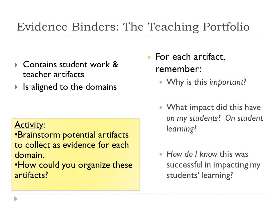 Evidence Binders: The Teaching Portfolio  Contains student work & teacher artifacts  Is aligned to the domains For each artifact, remember: Why is t