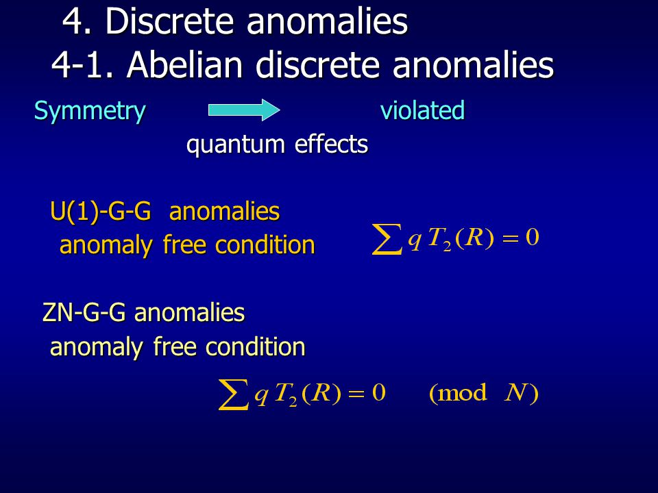 4.Discrete anomalies 4-1. Abelian discrete anomalies 4.