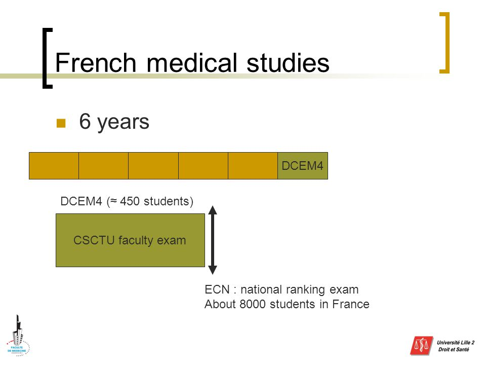 French medical studies 6 years DCEM4 CSCTU faculty exam ECN : national ranking exam About 8000 students in France DCEM4 (≈ 450 students)