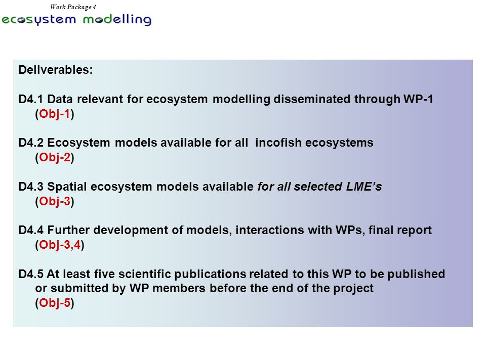 Deliverables: D4.1 Data relevant for ecosystem modelling disseminated through WP-1 (Obj-1) D4.2 Ecosystem models available for all incofish ecosystems (Obj-2) D4.3 Spatial ecosystem models available for all selected LME's (Obj-3) D4.4 Further development of models, interactions with WPs, final report (Obj-3,4) D4.5 At least five scientific publications related to this WP to be published or submitted by WP members before the end of the project (Obj-5) Work Package 4