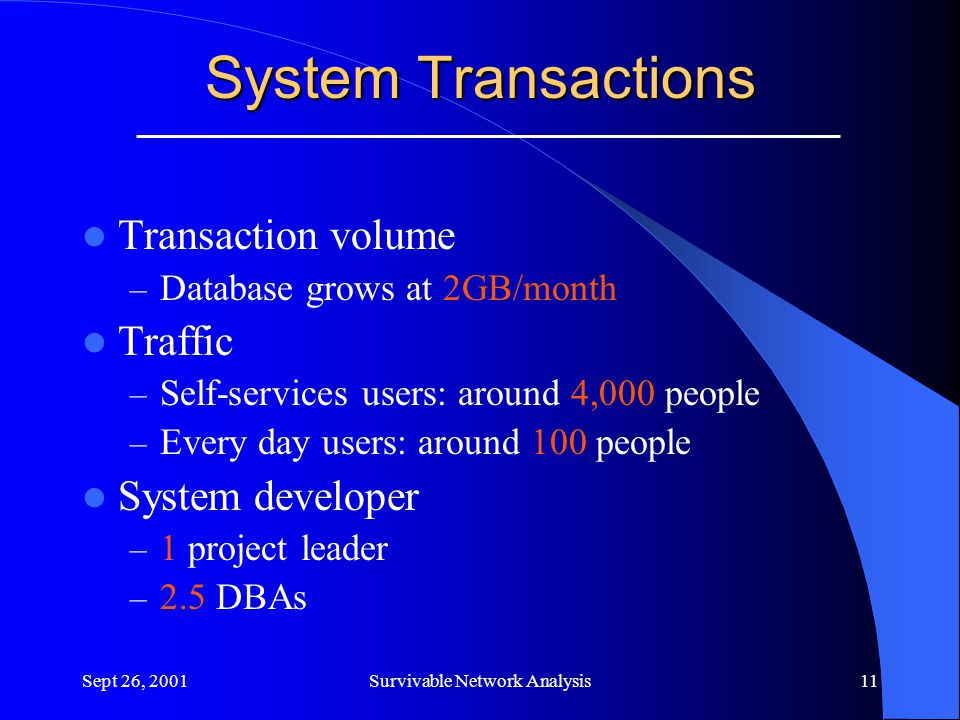 Sept 26, 2001Survivable Network Analysis11 System Transactions Transaction volume – Database grows at 2GB/month Traffic – Self-services users: around 4,000 people – Every day users: around 100 people System developer – 1 project leader – 2.5 DBAs