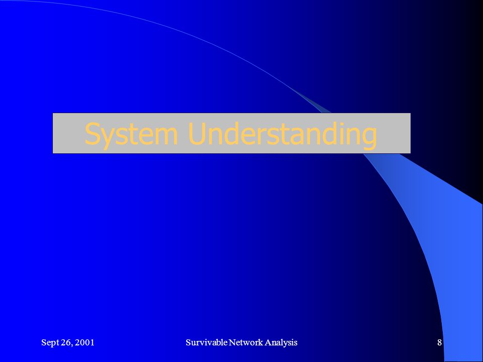 Sept 26, 2001Survivable Network Analysis8 System Understanding