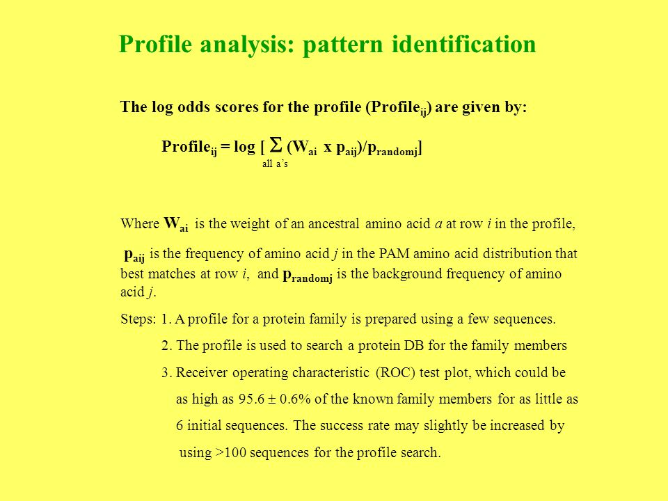 Profile analysis: pattern identification The log odds scores for the profile (Profile ij ) are given by: Profile ij = log [  (W ai x p aij )/p randomj ] all a's Where W ai is the weight of an ancestral amino acid a at row i in the profile, p aij is the frequency of amino acid j in the PAM amino acid distribution that best matches at row i, and p randomj is the background frequency of amino acid j.