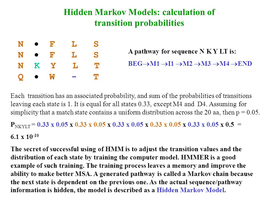 Hidden Markov Models: calculation of transition probabilities N  F L S N K Y L T Q  W - T A pathway for sequence N K Y LT is: BEG  M1  I1  M2  M3  M4  END Each transition has an associated probability, and sum of the probabilities of transitions leaving each state is 1.