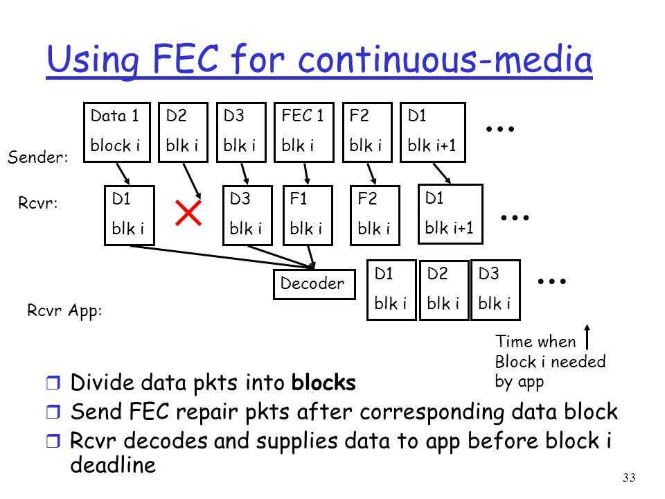 33 Using FEC for continuous-media r Divide data pkts into blocks r Send FEC repair pkts after corresponding data block r Rcvr decodes and supplies dat