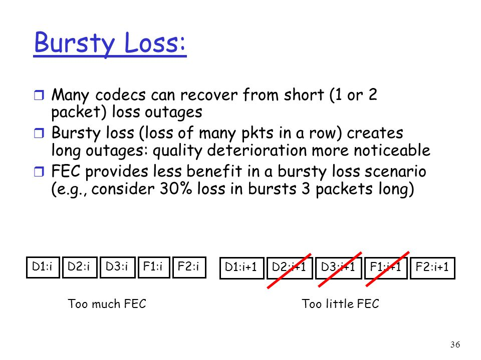 36 Bursty Loss: r Many codecs can recover from short (1 or 2 packet) loss outages r Bursty loss (loss of many pkts in a row) creates long outages: qua