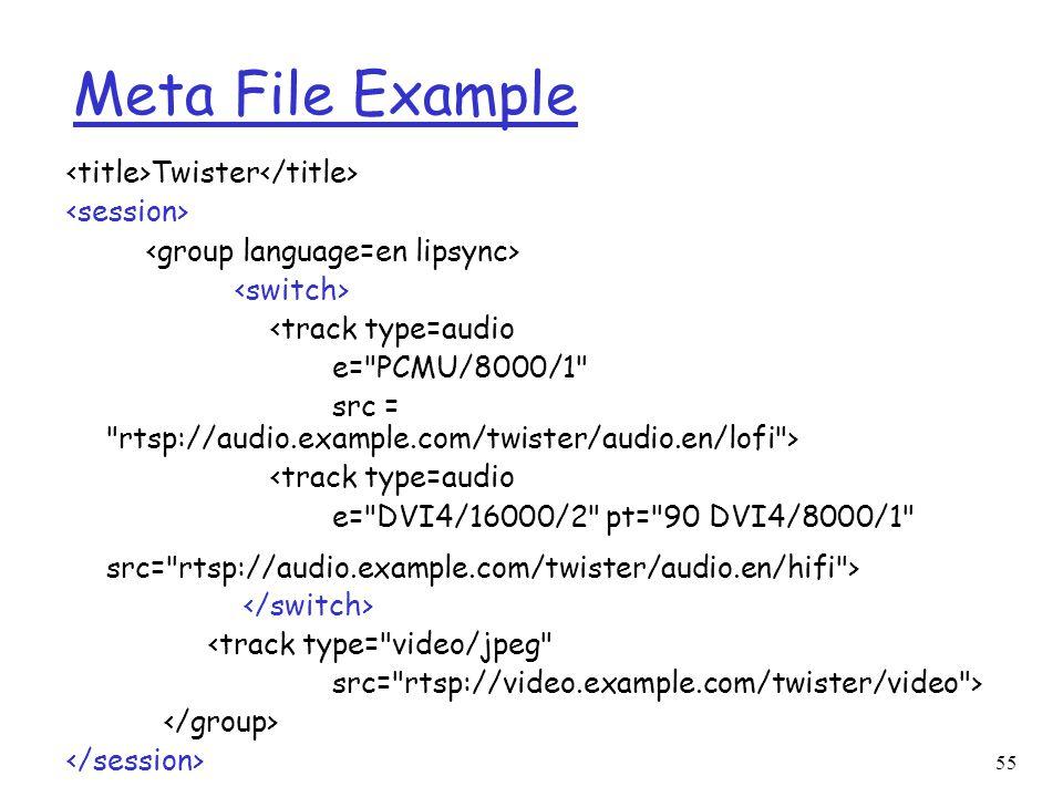 55 Meta File Example Twister <track type=audio e=
