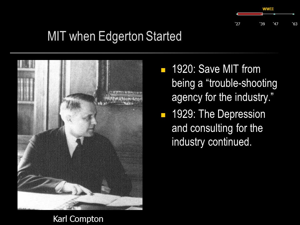 MIT when Edgerton Started 1920: Save MIT from being a trouble-shooting agency for the industry. 1929: The Depression and consulting for the industry continued.