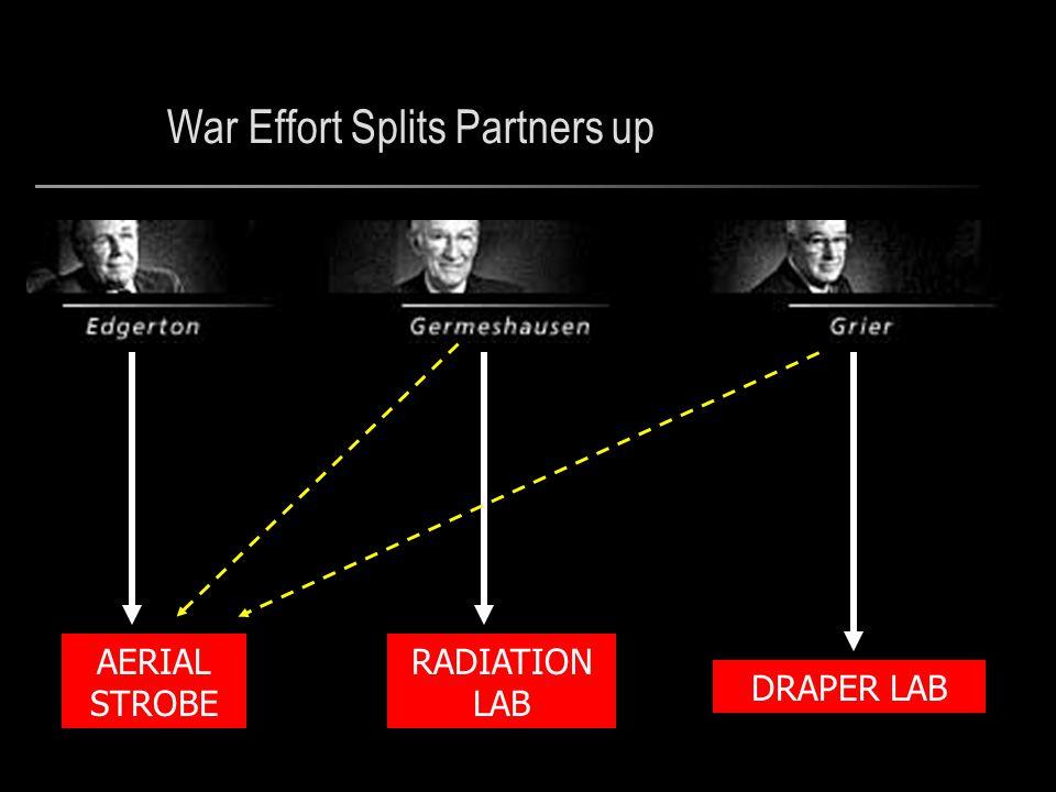 War Effort Splits Partners up DRAPER LAB RADIATION LAB AERIAL STROBE