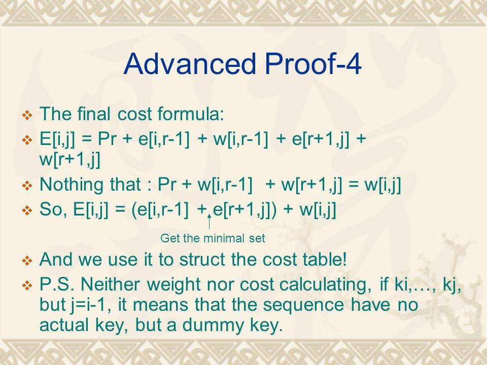 Advanced Proof-4  The final cost formula:  E[i,j] = Pr + e[i,r-1] + w[i,r-1] + e[r+1,j] + w[r+1,j]  Nothing that : Pr + w[i,r-1] + w[r+1,j] = w[i,j