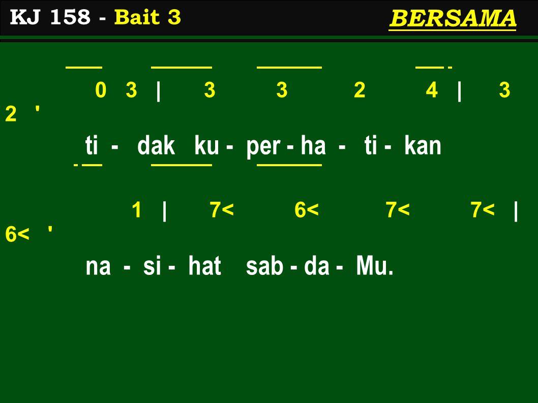 0 3 | 3 3 2 4 | 3 2 ti - dak ku - per - ha - ti - kan 1 | 7< 6< 7< 7< | 6< na - si - hat sab - da - Mu.