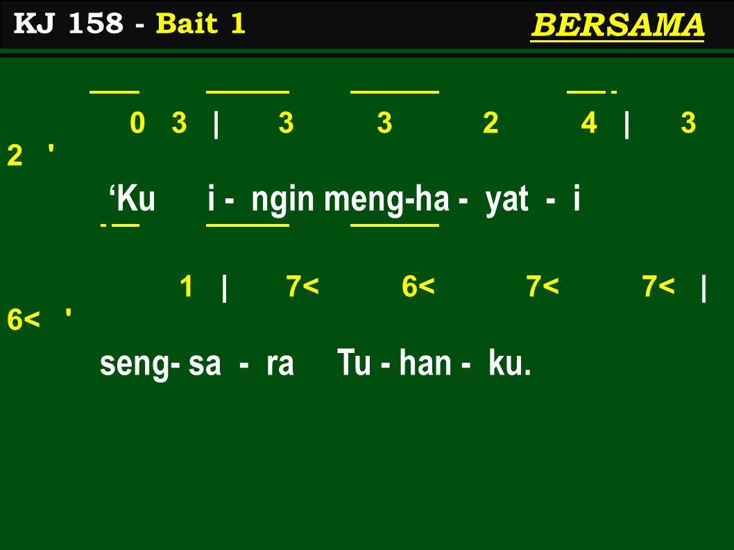 0 3 | 3 3 2 4 | 3 2 'Ku i - ngin meng-ha - yat - i 1 | 7< 6< 7< 7< | 6< seng- sa - ra Tu - han - ku.