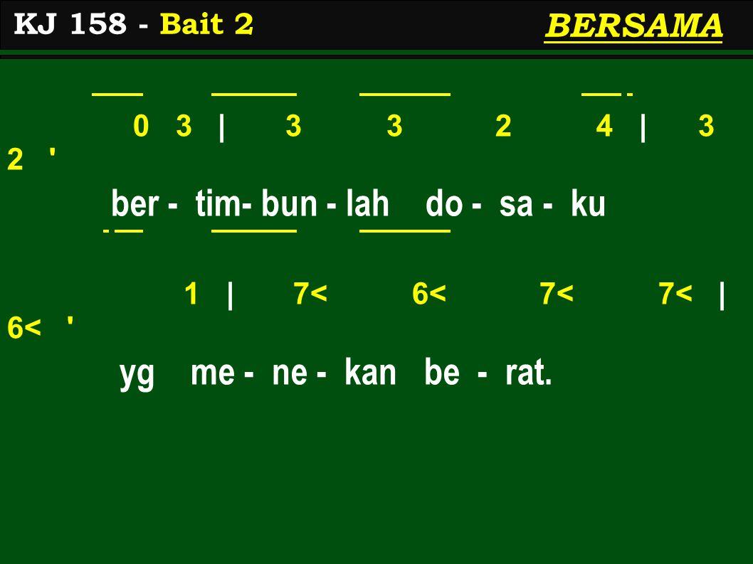 0 3 | 3 3 2 4 | 3 2 ber - tim- bun - lah do - sa - ku 1 | 7< 6< 7< 7< | 6< yg me - ne - kan be - rat.