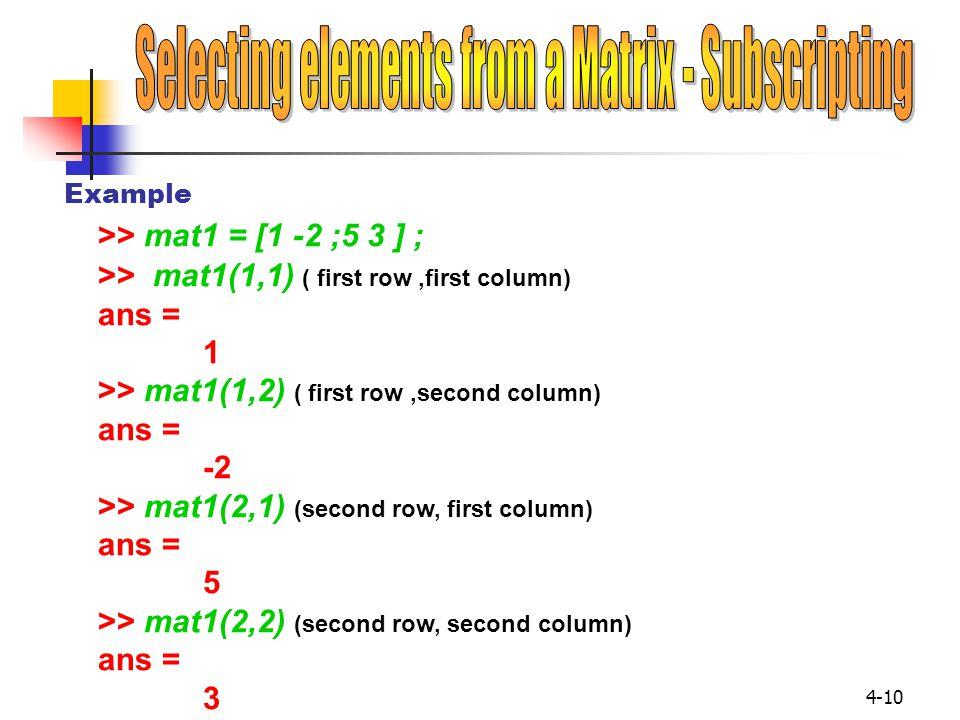 4-10 >> mat1 = [1 -2 ;5 3 ] ; Example >> mat1(1,1) ( first row,first column) ans = 1 >> mat1(1,2) ( first row,second column) ans = -2 >> mat1(2,1) (se