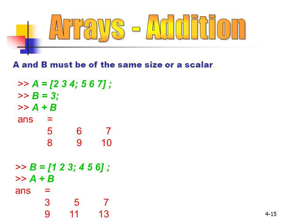 4-15 >> A = [2 3 4; 5 6 7] ; >> B = 3; >> A + B ans= 567 89 10 A and B must be of the same size or a scalar. >> B = [1 2 3; 4 5 6] ; >> A + B ans= 357