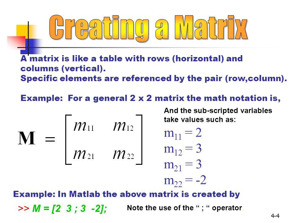 4-15 >> A = [2 3 4; 5 6 7] ; >> B = 3; >> A + B ans= 567 89 10 A and B must be of the same size or a scalar.