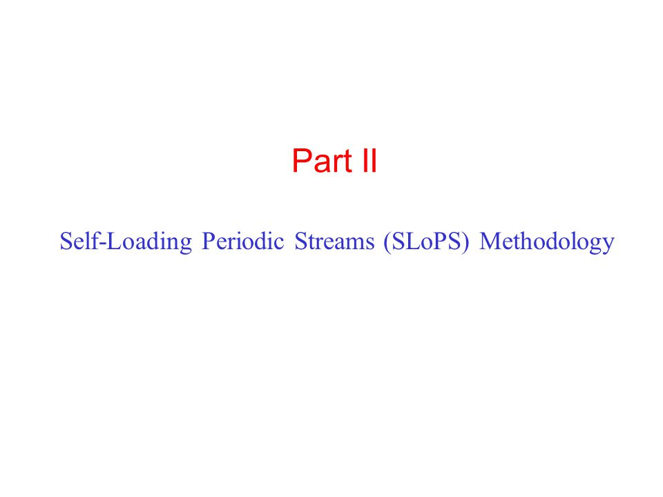 Part II Self-Loading Periodic Streams (SLoPS) Methodology