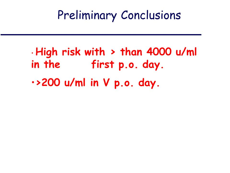 Preliminary Conclusions High risk with > than 4000 u/ml in the first p.o.