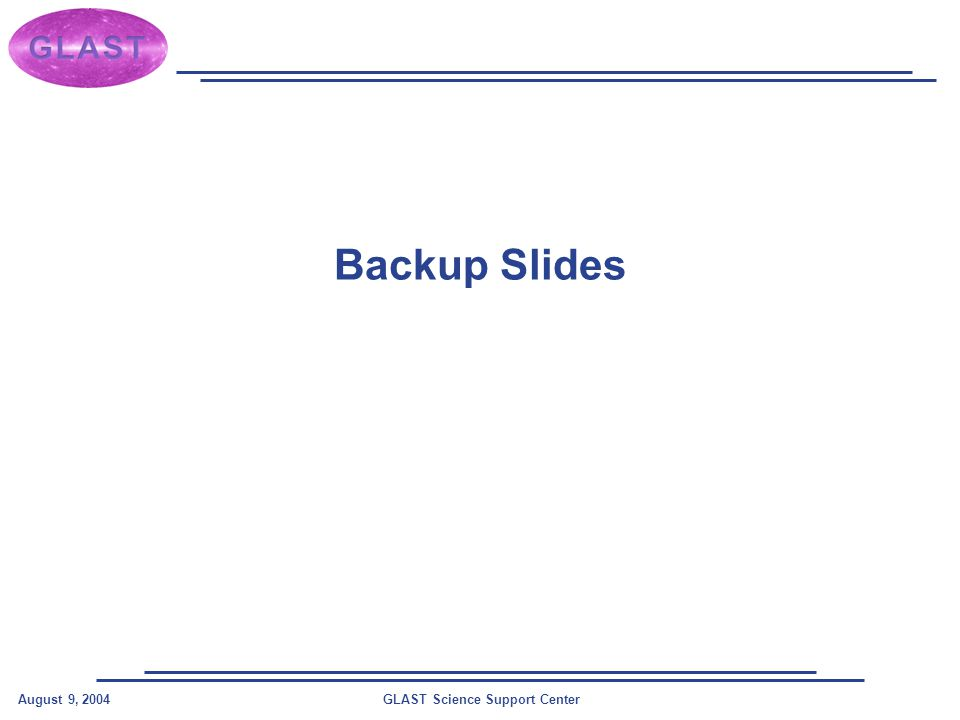 GLAST Science Support CenterAugust 9, 2004 Backup Slides