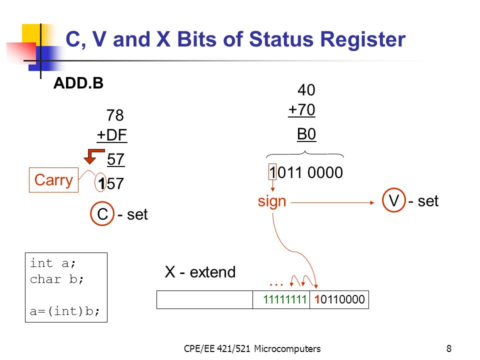 CPE/EE 421/521 Microcomputers8 C, V and X Bits of Status Register ADD.B 78 +DF 57 157 Carry C - set 40 +70 B0 1011 0000 signV - set 1011000011111111 …