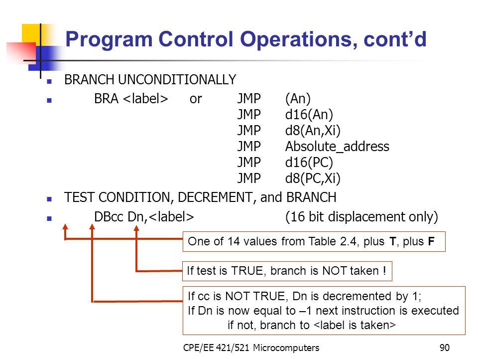 CPE/EE 421/521 Microcomputers90 Program Control Operations, cont'd BRANCH UNCONDITIONALLY BRA orJMP(An) JMPd16(An) JMPd8(An,Xi) JMPAbsolute_address JM