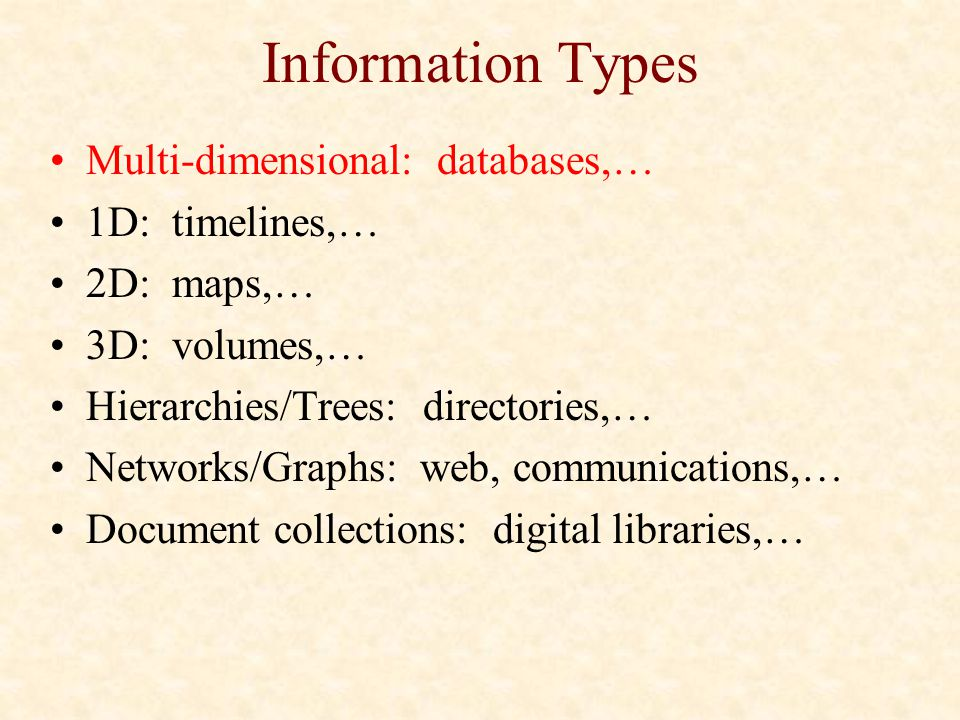 Information Types Multi-dimensional: databases,… 1D: timelines,… 2D: maps,… 3D: volumes,… Hierarchies/Trees: directories,… Networks/Graphs: web, commu