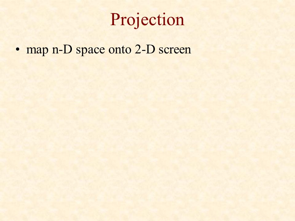 Projection map n-D space onto 2-D screen