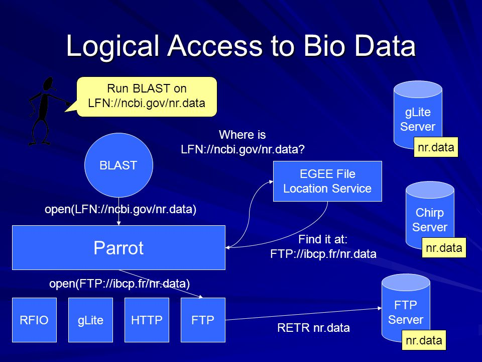 Logical Access to Bio Data BLAST Parrot RFIOgLiteHTTPFTP Chirp Server FTP Server gLite Server EGEE File Location Service Run BLAST on LFN://ncbi.gov/nr.data open(LFN://ncbi.gov/nr.data) Where is LFN://ncbi.gov/nr.data.