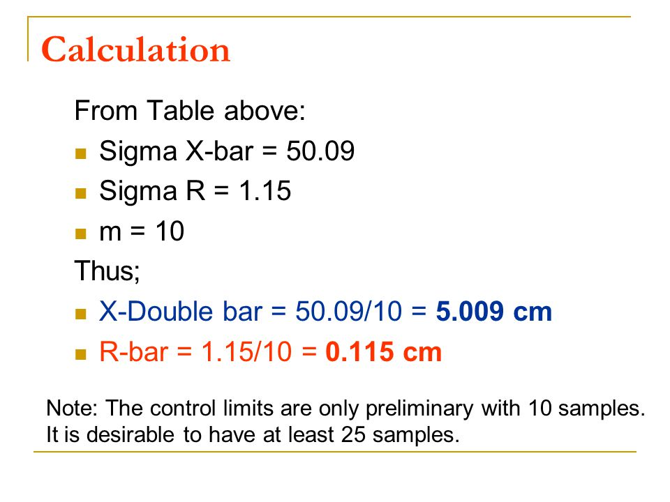 Calculation From Table above: Sigma X-bar = 50.09 Sigma R = 1.15 m = 10 Thus; X-Double bar = 50.09/10 = 5.009 cm R-bar = 1.15/10 = 0.115 cm Note: The