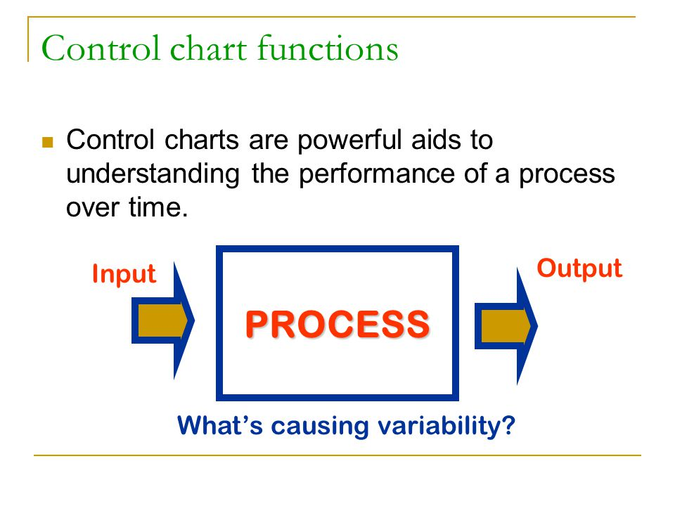 Control charts identify variation Chance causes - common cause  inherent to the process or random and not controllable  if only common cause present, the process is considered stable or in control Assignable causes - special cause  variation due to outside influences  if present, the process is out of control